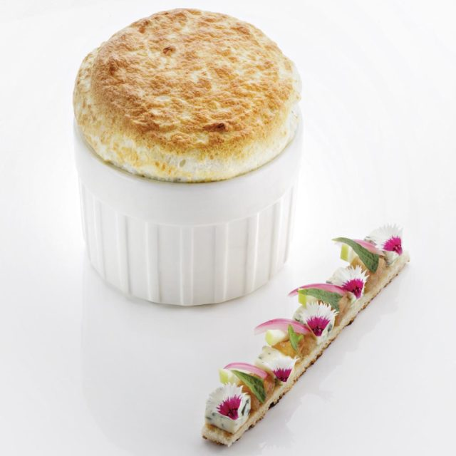 Fourme d'Ambert Soufflé with Pear Chutney