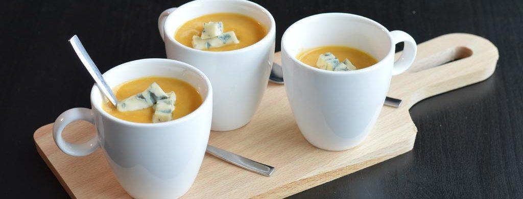 Velouté de butternut et carottes à la Fourme d'Ambert