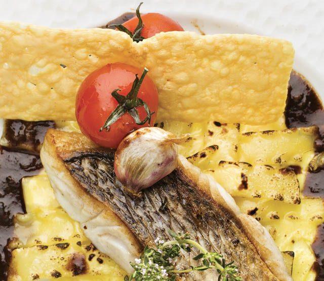 Denti sur peau, lasagnettes à la Fourme d'Ambert, jus de daube de joues de bœuf au vin rouge