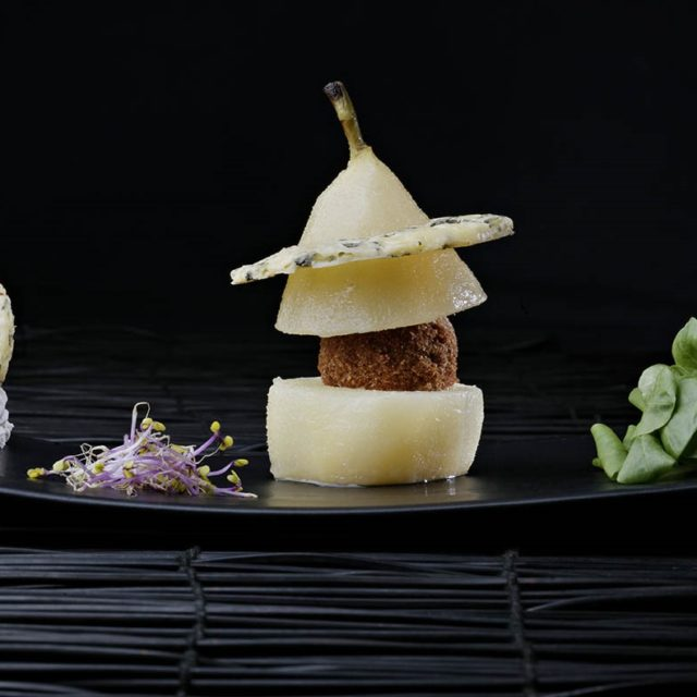Muscadet-poached Pears with a Fourme d'Ambert Croustillant Centre