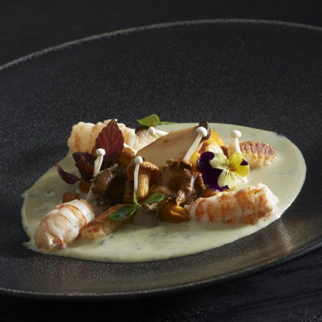 Poêlée de champignons aux oignons cébettes, crème de Fourme d'Ambert et langoustines rôties