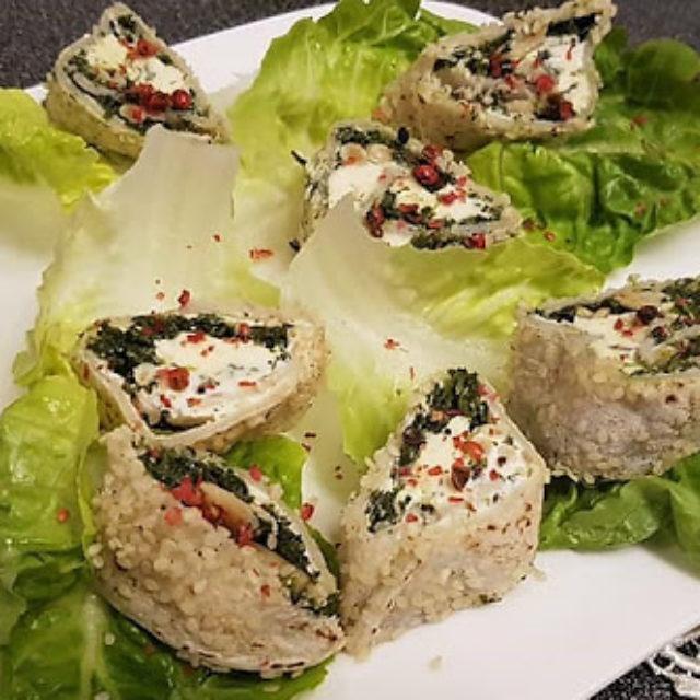 Schritt 4 - Rezept Vegetarische Taquilinos mit Fourme d'Ambert, Spinat und Pinienkernen