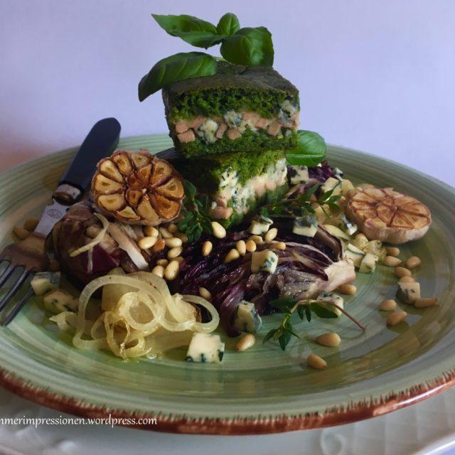 Spinat-Blauschimmelkäse-Torte