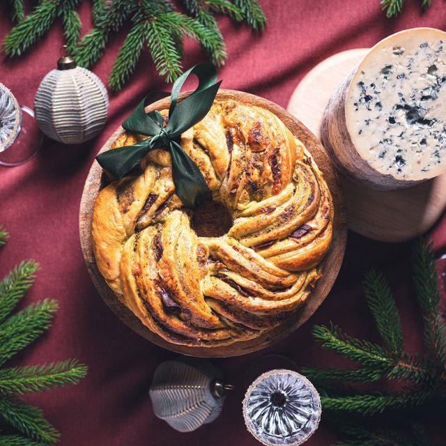 Couronne de Noël à l'AOP Fourme d'Ambert et magret de canard